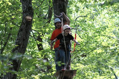 Venture Crew 180 on high ropes at Moses Scout Reservation