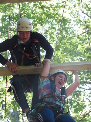 Ludlow MA Venture Crew 180 on COPE course Giants Ladder at Horace Moses Scout Reservation. Venturing is a co-ed alternative to Girl Scouts