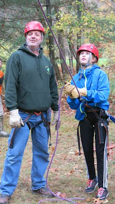 Ludlow MA Venturer learning to belay at Camp Falconer. Venturing is a co-ed alternative to Girl Scouts